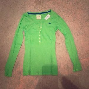 Green Long Sleeve Hollister Henley, size L NWT