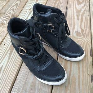 Aldo Girls Sneaker High Top Black Boots Zip Chain