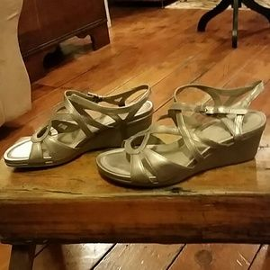 Ecco Touch 45 Wedge Sandals Moon Rock Sz 8-8.5