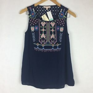 Skies Are Blue Embroidered Sleeveless Top Navy M