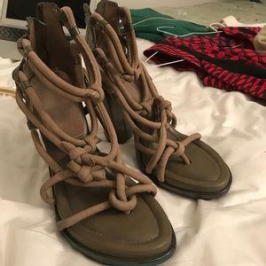 Green Alexander Wang lace up sandals