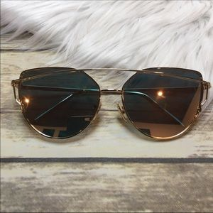 Accessories - Gold Mirror Cat Eye Aviator Sunglasses
