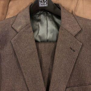 Adams Row Brown w/ Gold & White Pinstripe Suit 42R