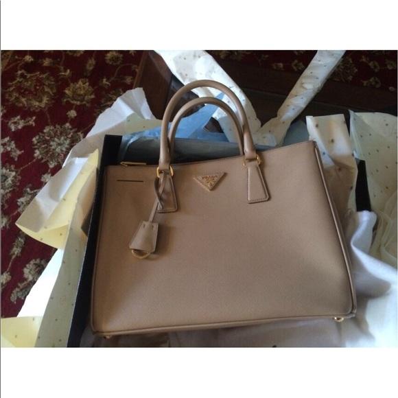 812123db34fbff ... order authentic prada saffiano sabbia leather tote bag 17fab 49e52
