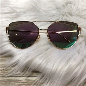 Accessories - Gold/Teal/Purple Mirror Cat Eye Aviator Sunglasses