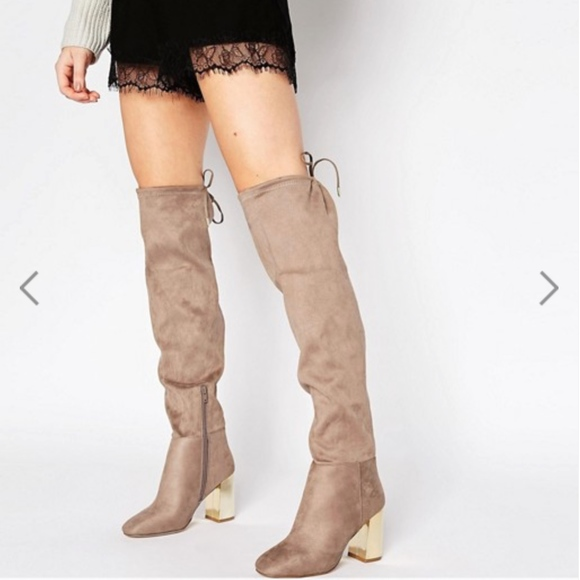 a8382f9ecee3 Wide Fit Suedette Tie Back Over The Knee Boots