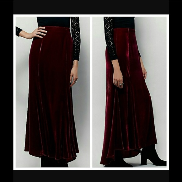 87cdc2fdc75 Free People Dresses   Skirts - Free People x Curtain Call velvet maxi skirt-  red