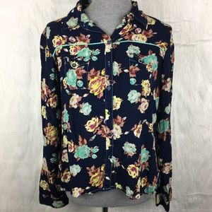 Floral High Low Button Down Top