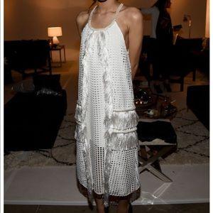 Self porTrait pearl and fringe embellished dress