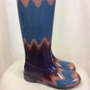 Missoni Blue and Purple Mix Print Rain Boots
