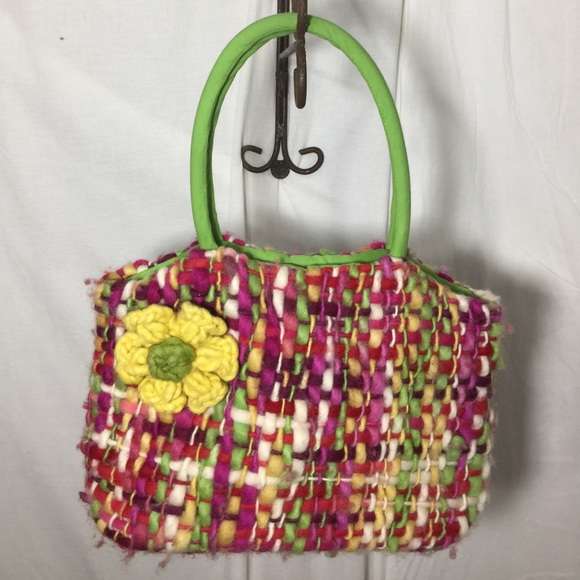 two's company Handbags - Yarn handbag with flower