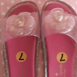 Kate Spade Pink Glitter Jelly Sandals Size 7 New