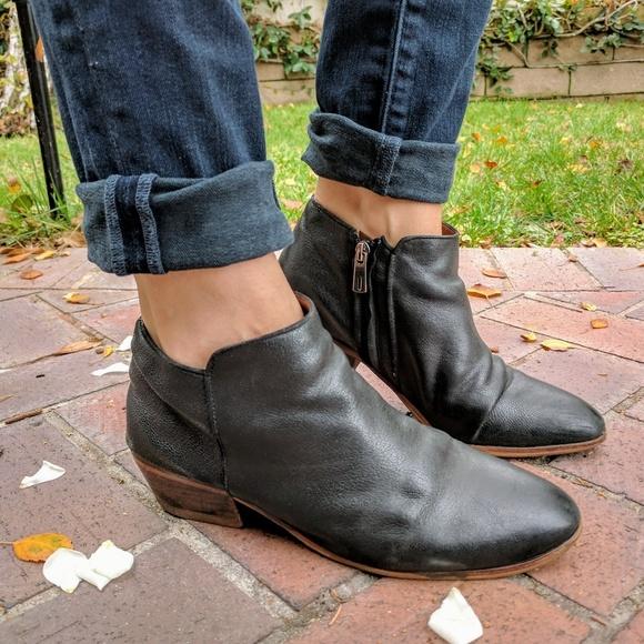 e53d9cfee4f Sam Edelman Black Leather Petty Ankle Boot Sz 8