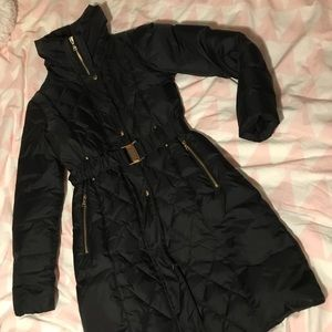 Express belted long puffer coat