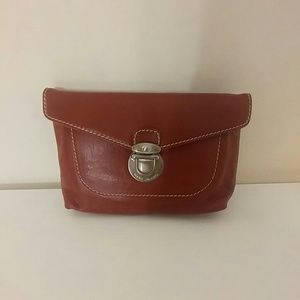 Marc Jacobs red leather clutch