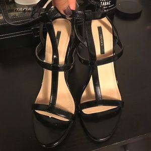 Black open toe strappy wedges