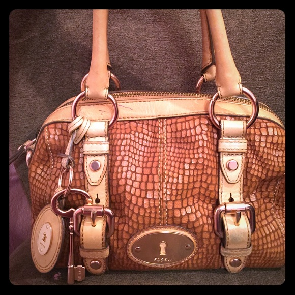 3af95a5b38e Fossil Maddox Rose Gold Leather Brown bag