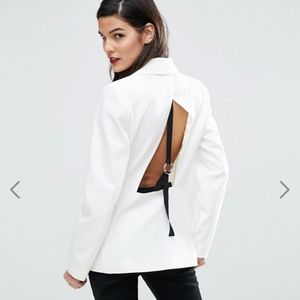ASOS White Open Back Blazer with Tape