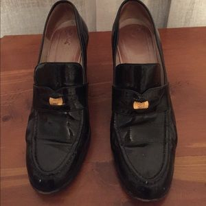 Chanel Black patent leather loafer pumps