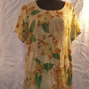 Yellow Tan Floral Light-weight Long Dress