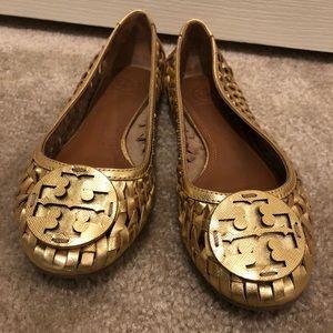 ed338a8ccb1 Tory Burch Shoes - Tory Burch Huarache gold leather ballet flats 7.5