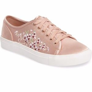 Pink Satin Cherry Blossom Embroidery Sneakers