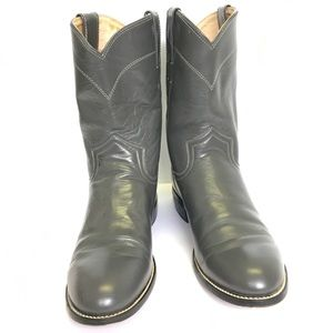 Grey Justin Cowboy Boots Size 6