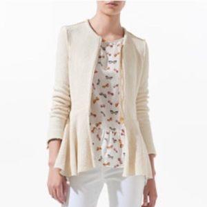 Zara Fantasy Fabric Peplum Sweater Jacket