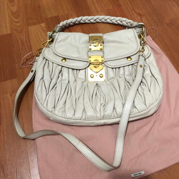 Authentic Miu Miu Matelasse Leather Hobo Bag. M 5a0910772599fefc4d14d6b9 962e00161e8de
