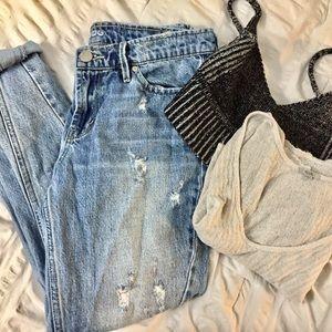 BDG light wash 'destroyed' slim boyfriend jeans