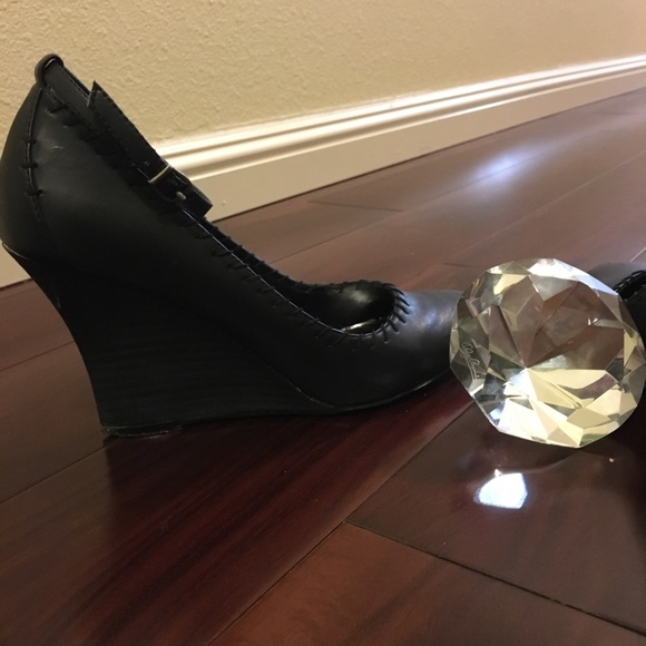 1eb826a33e7f   Cathy Jean black wedge shoes-size 7 1 2