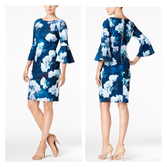162a0495c6 Calvin Klein Floral Print Flower Sheath Dress