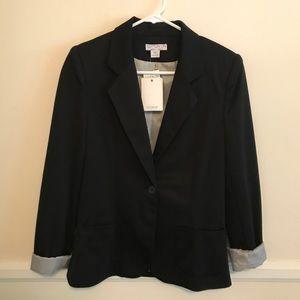 NWT Padded Shoulder Black Blazer
