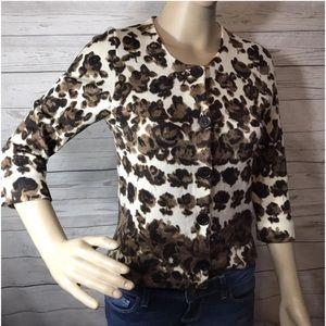 Women's J.Crew Merino Wool Cardigan Sweater Floral