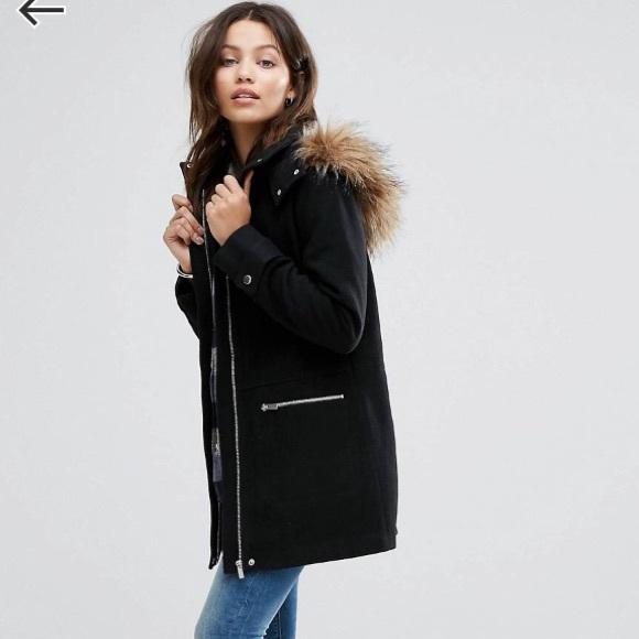 45e9bdf211f ASOS Jackets   Blazers - ASOS Faux Fur Trim Duffle Coat