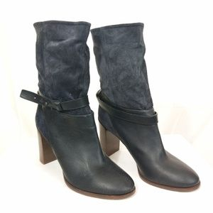 Vince Black Leather and Suede Boots with Dustbag