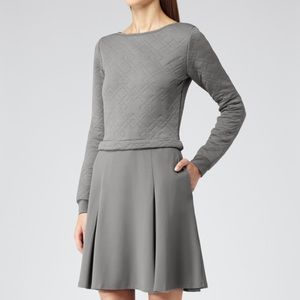Reiss Gray Kula Quilted Long Sleeve Dress