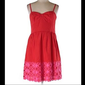 Trina Turk Red and Pink Fit and Flare Dress