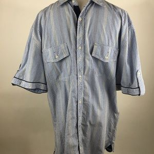 Buffalo plaid short sleeve pocket button up XXL