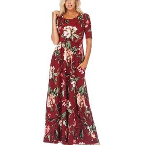 Floral Maxi Dress with Pockets - Burgundy