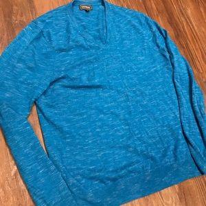 Men's large wool aqua blue vneck Express sweater