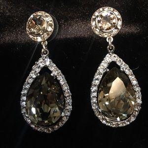 Lorren Bell rhinestone & smokey topaz earrings NWT