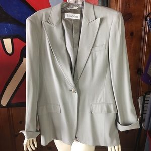 MAX MARA gray wool blazer suit coat jacket 10 M 44