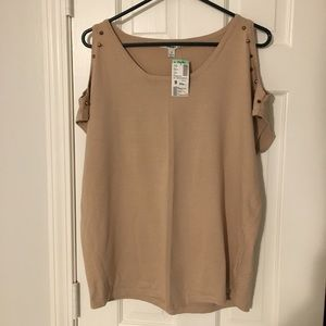 Tan cold-shoulder studded sweater.  Brand new.