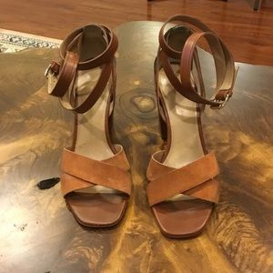 Tan Leather and Suede Banana Republic Wrap Sandals
