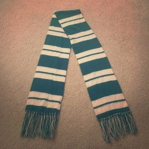 Green and white striped scarf