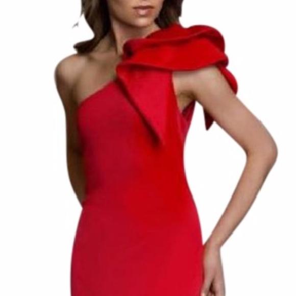 8aedb38e1fe07 Betsy & Adam Dresses | Betsy Adam Ruffled Oneshoulder Scuba Gown Red ...