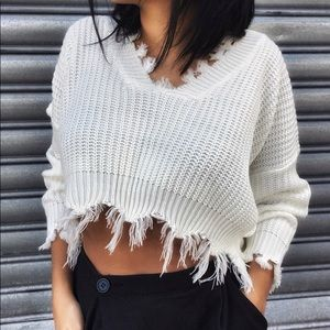 Sweaters - Distressed Cropped Sweater