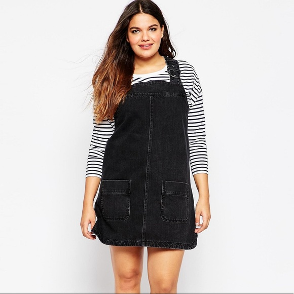 pretty cool factory outlet great deals on fashion Asos Curve Denim Pinafore Dress with Pockets