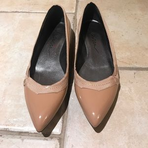 Lanvin Pointy Nude Beige Leather Silk Flats 37.5